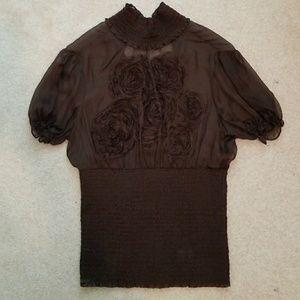 BEBE Silk Short Sleeve Top